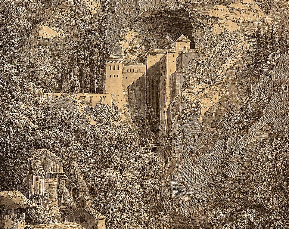 A lithographic print of Predjama Castle by Karl Friedrich Schinkel