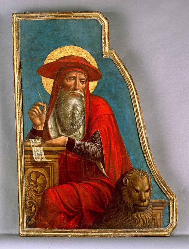 Image depicts St. Jerome at a writing desk, wearing a bright red robe and hat. He is sitting on a seat with a gold lion's head in front of a torquoise background.