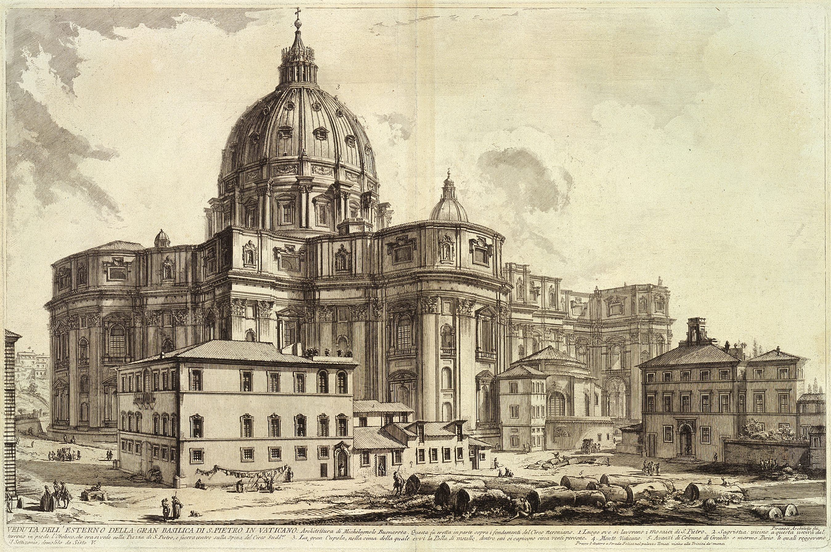 """Photo of """"View of the Exterior of St. Peter's Basilica in the Vatican"""" by Giovanni Battista Piranesi, image shows an etching featuring St. Pete's Basilica with groups of figures around the massive building going about daily life"""