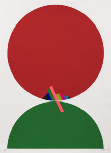 Abstract and geometric piece by Eugenio Carmi. Featuring a large red circle above a green half circle. Inside the red circle are bars of color protruding from the bottom. A pink bar of color protrudes from the bottom of the red circle into the green circle.