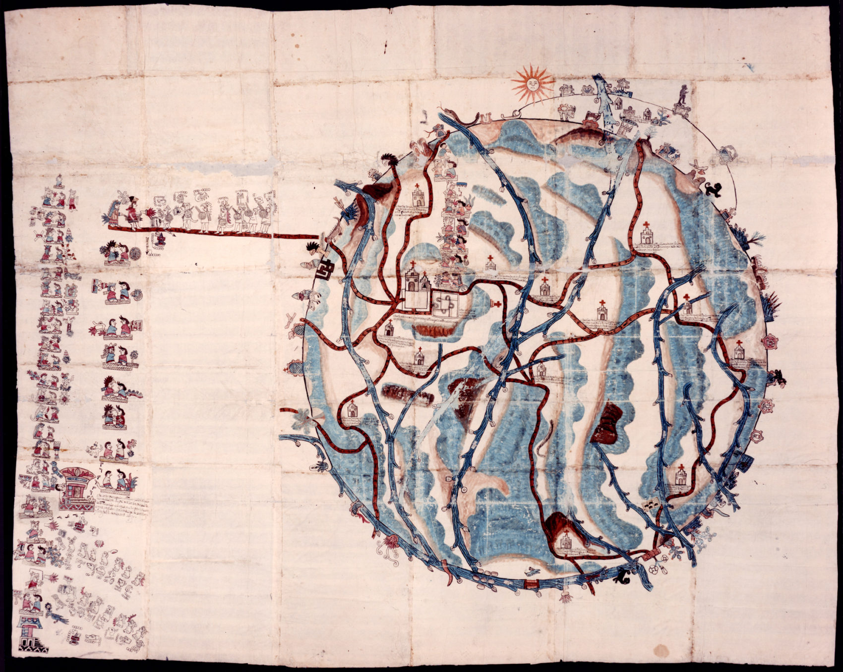 Watercolor map created in 1580. The map is organized into a circle with marked waterways, roads, and buildings. On the far left side a column of figures represent ten generations of local rulers including a series of footprints to indicate a marriage alliance with a neighboring town.