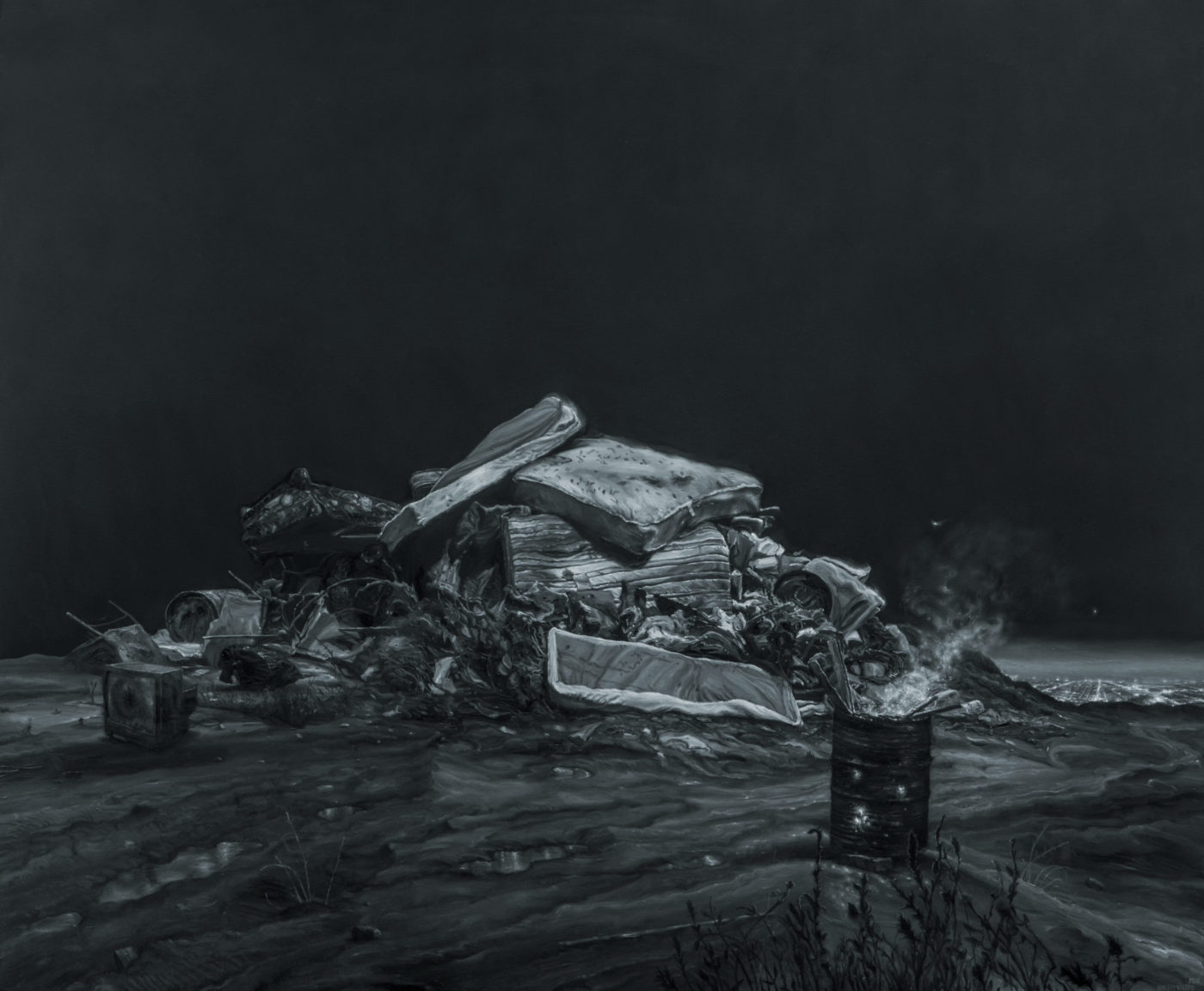 "Close up photo of ""The City II"" by Vincent Valdez, the detail shows a pile of mattresses, broken chairs, broken television and other garbage next to a metal barrel containing pieces of wood that are on fire"