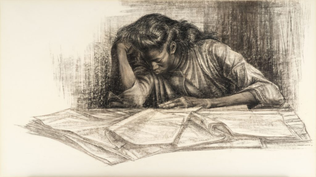 Illustration of a young woman with left elbow on table and hand resting on head. While she appears to be studying over a table full of papers