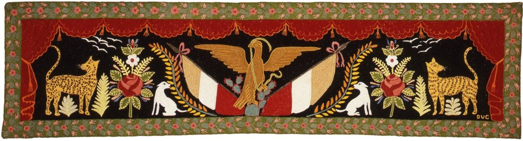 Symmetrical tapestry with two jaguars, rose botanical bouquets, and dogs. The Mexican emblem, an eagle atop cactus and with a snake in its beak, is center. Two flags flank the eagle. A theatrical curtain and botanical boarder outline the scene.
