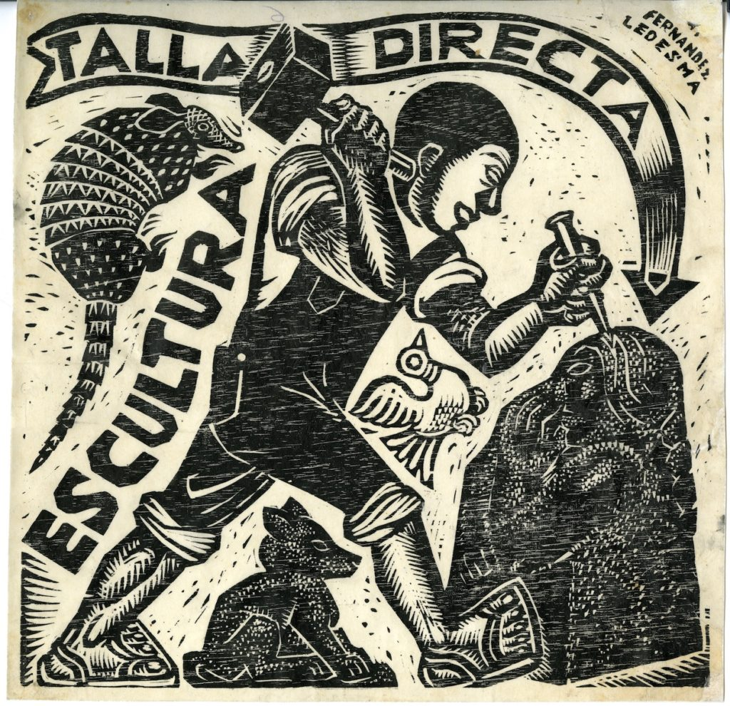 A woodcut print of a sculptor chiseling. Text in an arrow point at the sculpture. Three animals surround the sculptor, an armadillo, bird, and dog.
