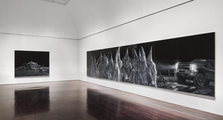 Image of Gallery space with two paintings by Vincent Valdez: The City I, The City II,