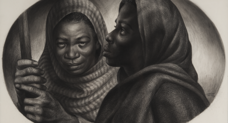 """Drawing by Charles White, titled """"General Moses and Sojourner Truth"""", depicting two famed African American women who fought for equality"""