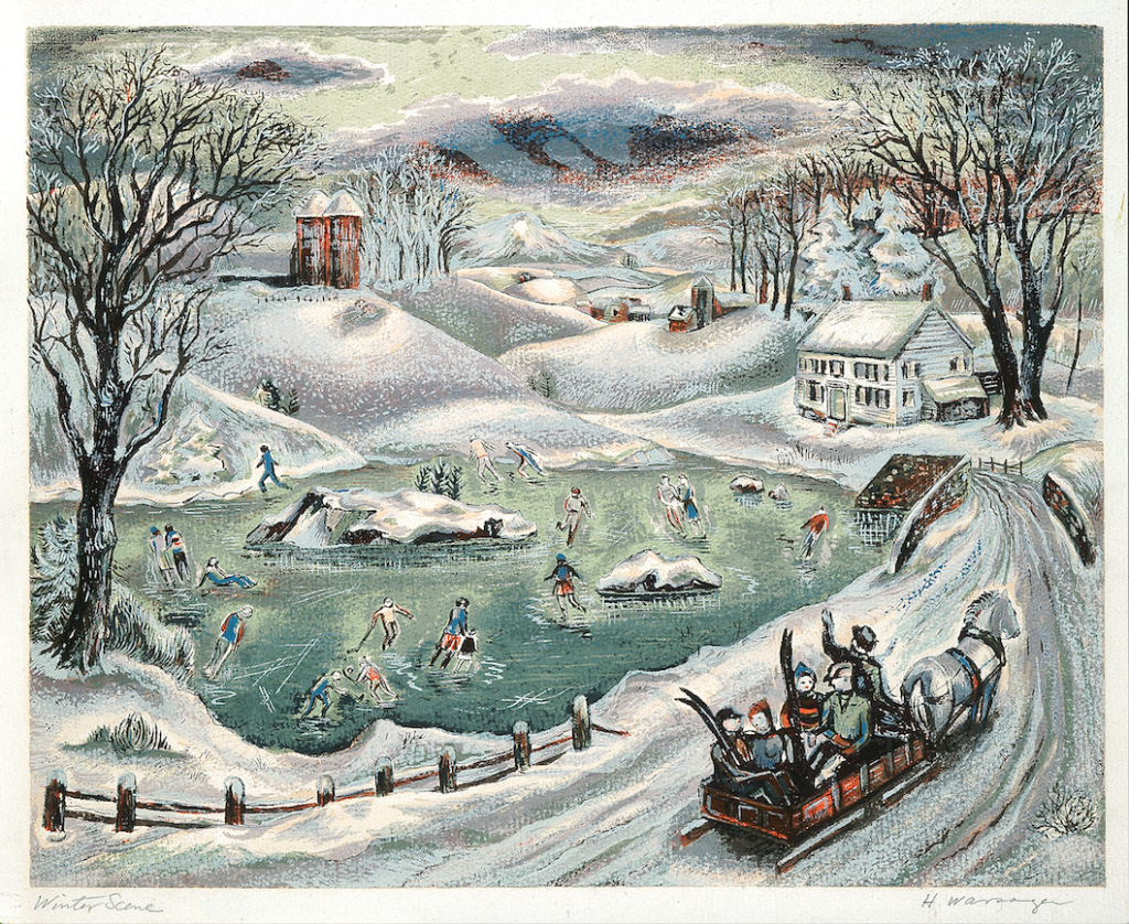 """Screenprint by Hyman Warsager, titled """"Winter Scene"""", depicting a snowy landscape and people skating on a frozen pond"""