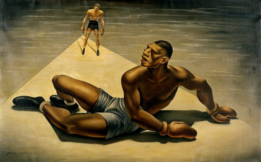 "Painting by Fletcher Martin, titled ""Down for the Count"", depicting a boxer on the floor as another boxer stands behind him"
