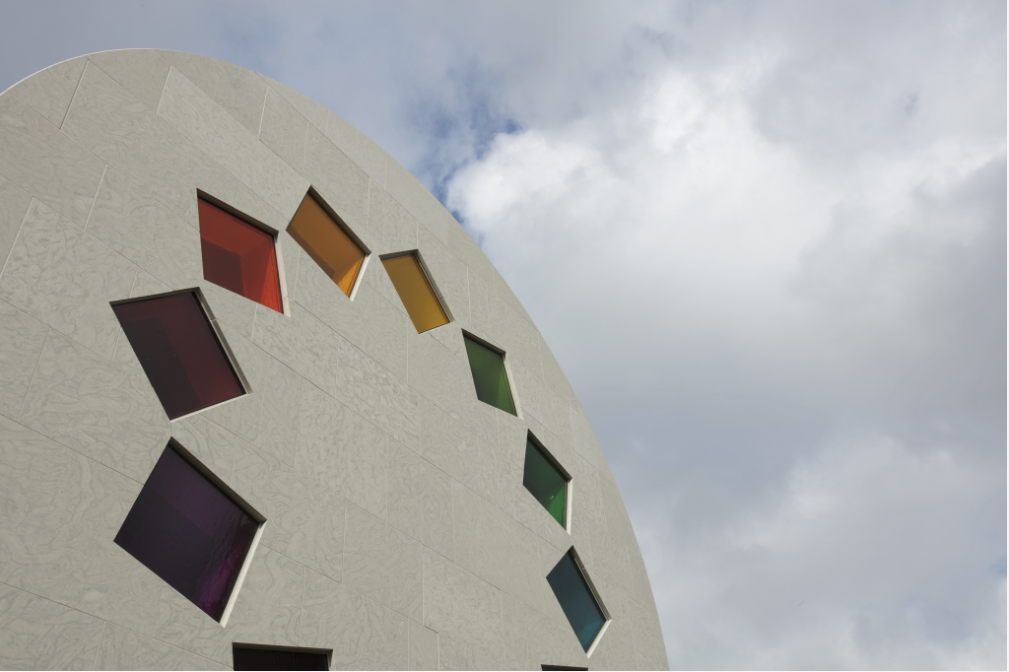 "Screenshot image of ""Austin"" by Ellsworth Kelly featuring the Tumbling Squares window"