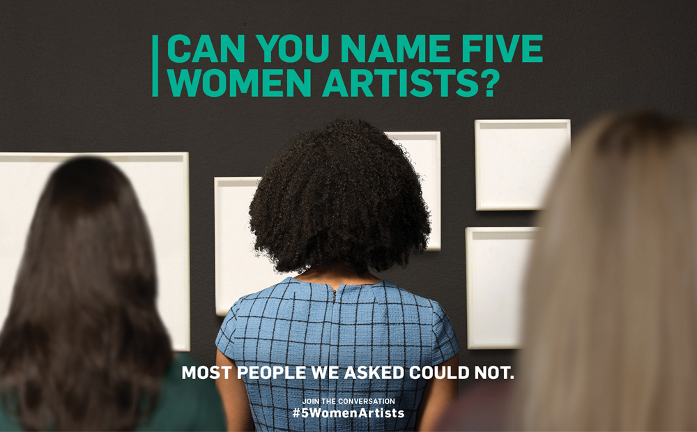 An ad for hashtag 5 Women Artists. The backs of 3 women's heads