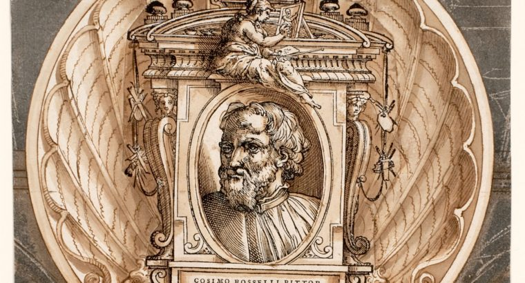 "Print by Giorgio Vasari titled ""Decorative Border with the Portrait of Cosimo Rosselli"""