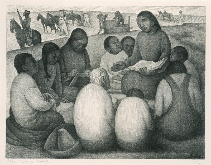 A woman teaches a group in an outdoor rural setting. We see horses and farmers working in the background