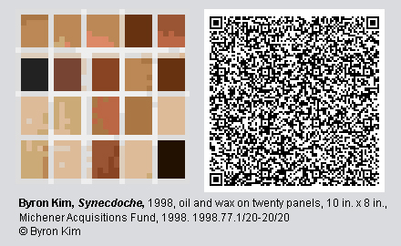 "QR code and pixelated image of ""Synecdoche"" by Byron Kim."