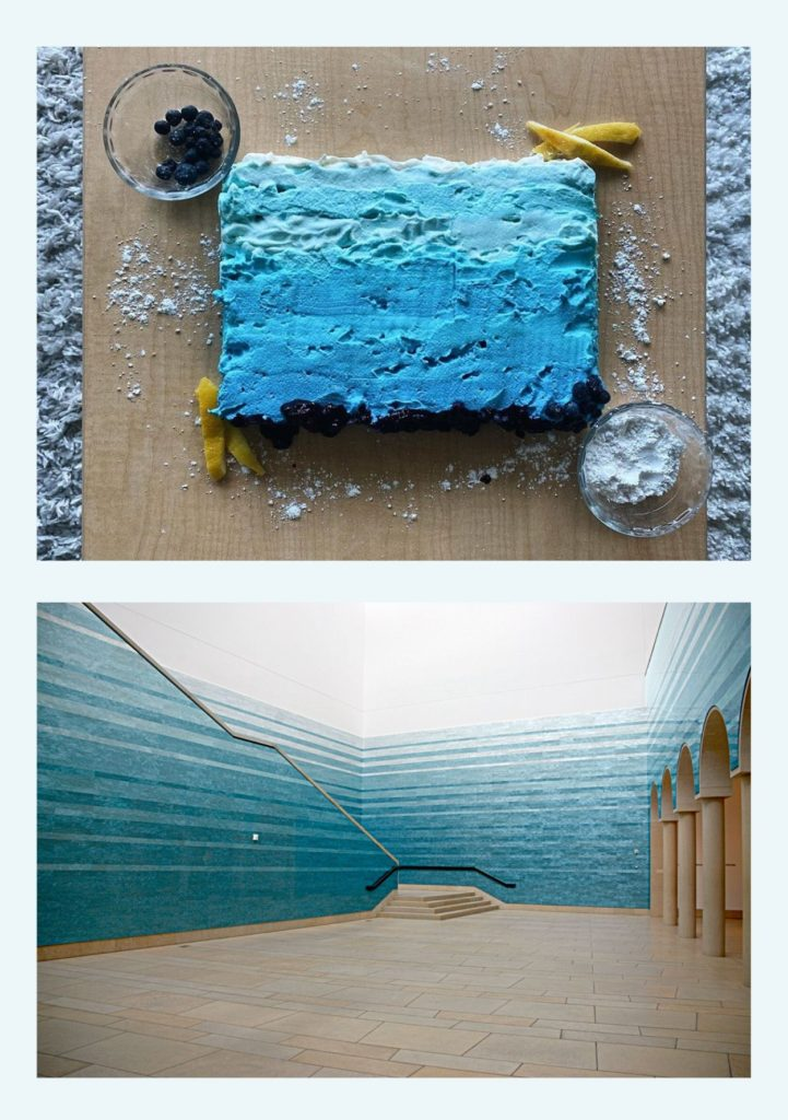 "The top image is of a cake decorated with a marbled blue ombre to match the bottom image which is of Teresita Fernandez' ""Stacked Waters"" an acrylic panel instillation showing the same dark blue to light blue ombre in long strips stacked on top of one another"