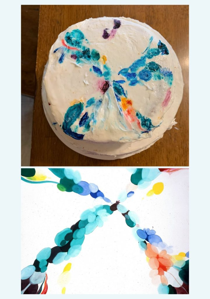 "The top shows a round cake frosted to look like the bottom image which is Alice Baber's ""Day of Sounds"", a painting of different sized oval shapes of different colors that form a large X shape"
