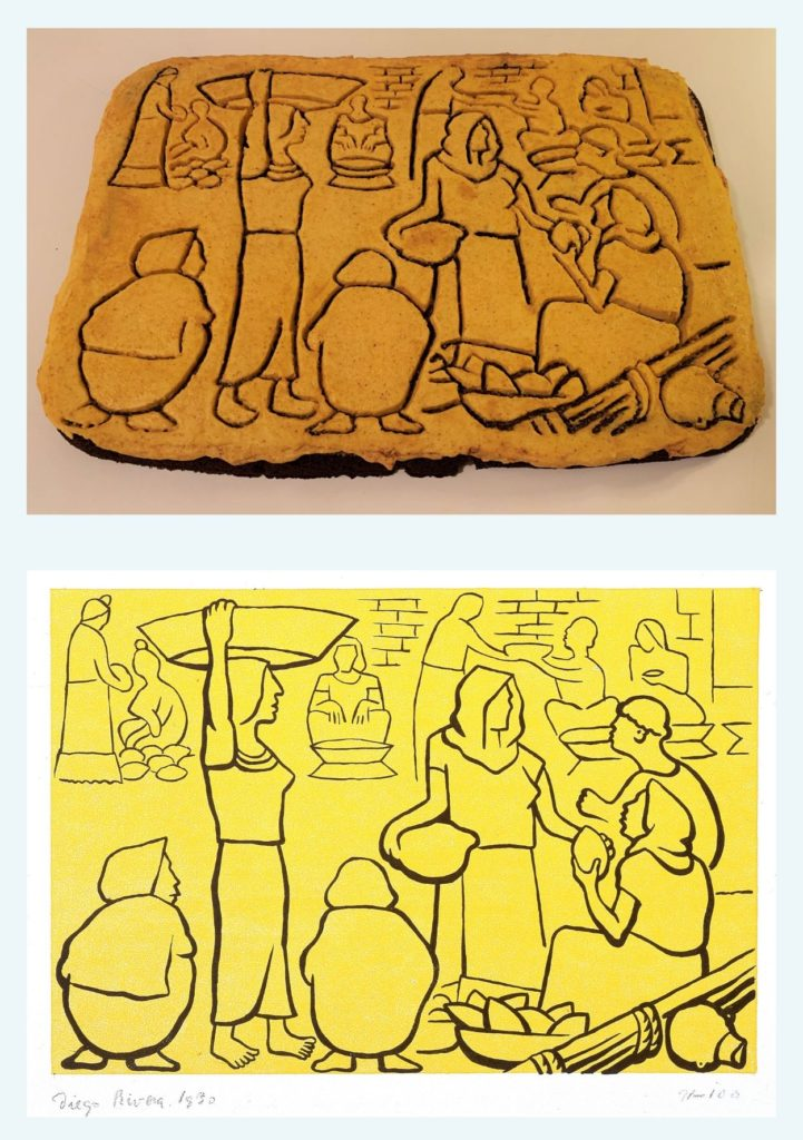 "The top image is of a large brownie frosted to look like the bottom image which is of Diego Rivera's ""Mercado de Tehuantepec"" a lithograph depicting several figures going about their day in a marketplace"
