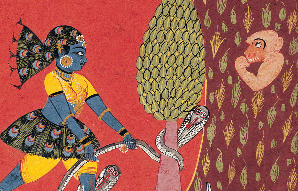 A blue woman pulls on a snake wrapped around a tree while a mischievous monkey looks on