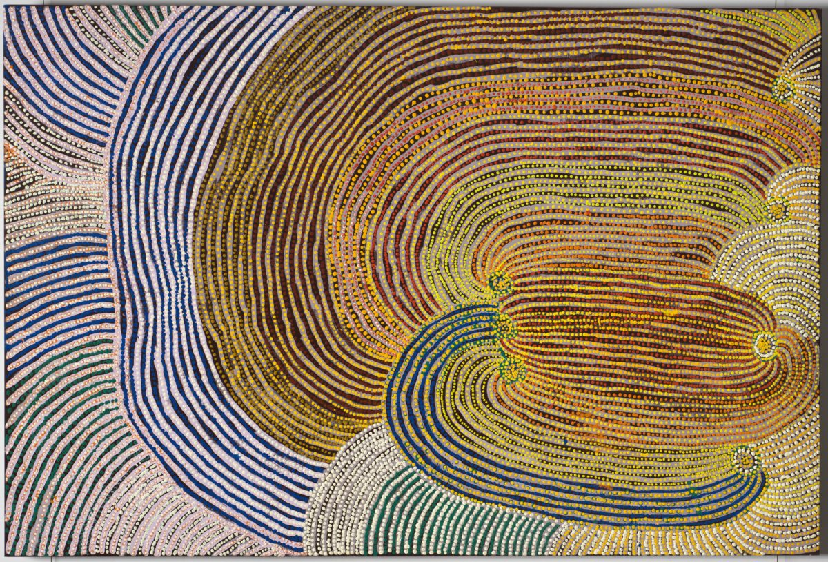 Tommy Mitchell, Walu. Colorful lines of synthetic polymer paint on canvas