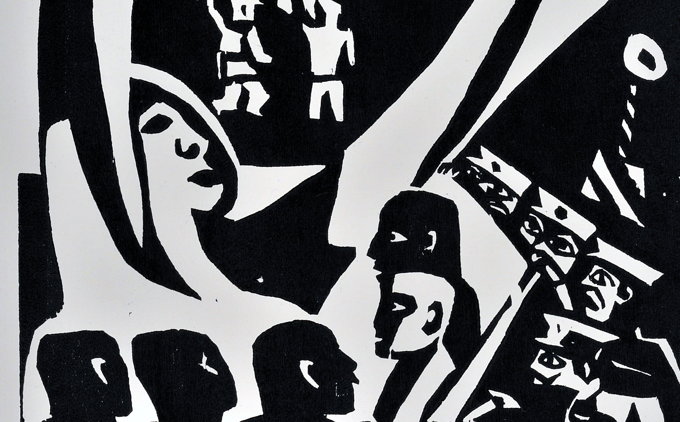 Simple figures in black ink formed into a dynamic composition