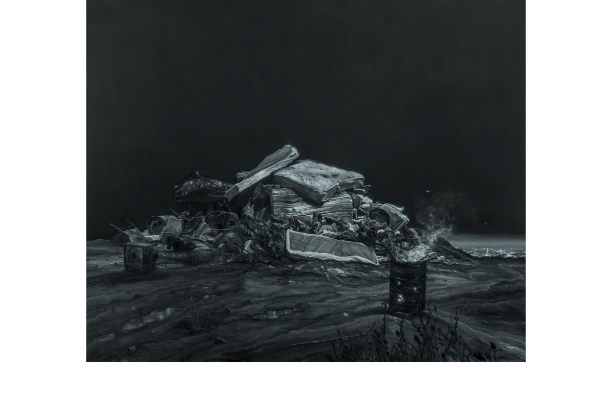 Monochromatic oil painting of a pile of trash in an open field. City lights are visible just beyond the ridge. The pile contains mattresses, a broken TV, and various other items. In front of the pile is an oil barrel ablaze.