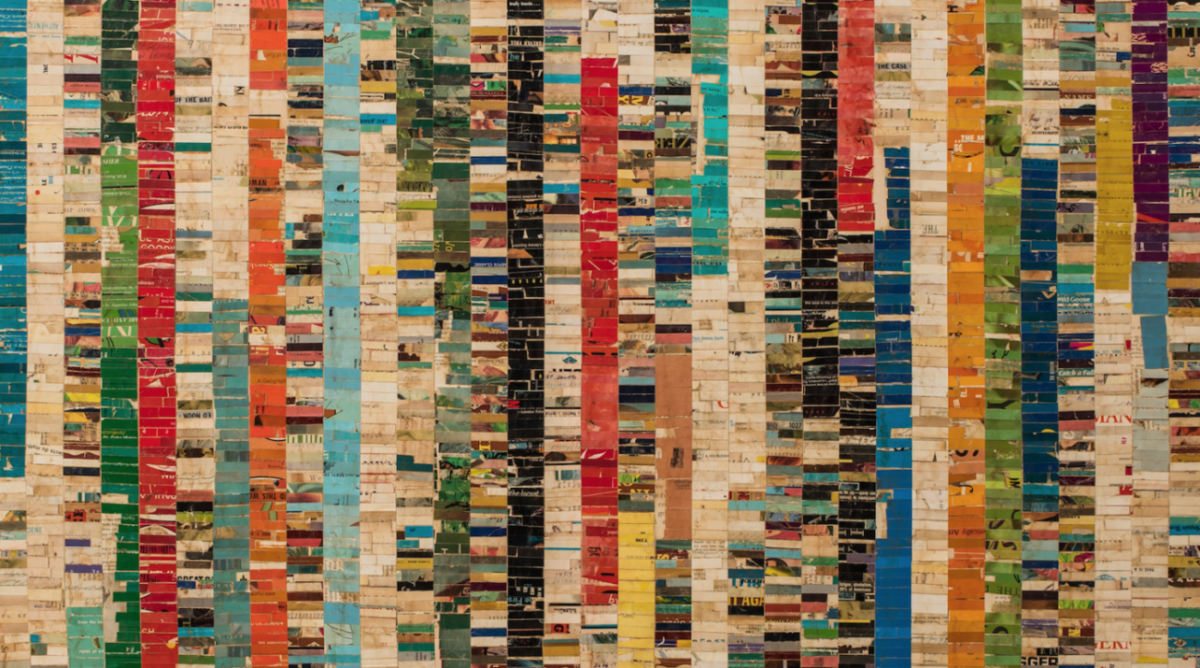 bars of color stacked in rows to make columns of color. detail view Red Bar by Lance Letscher