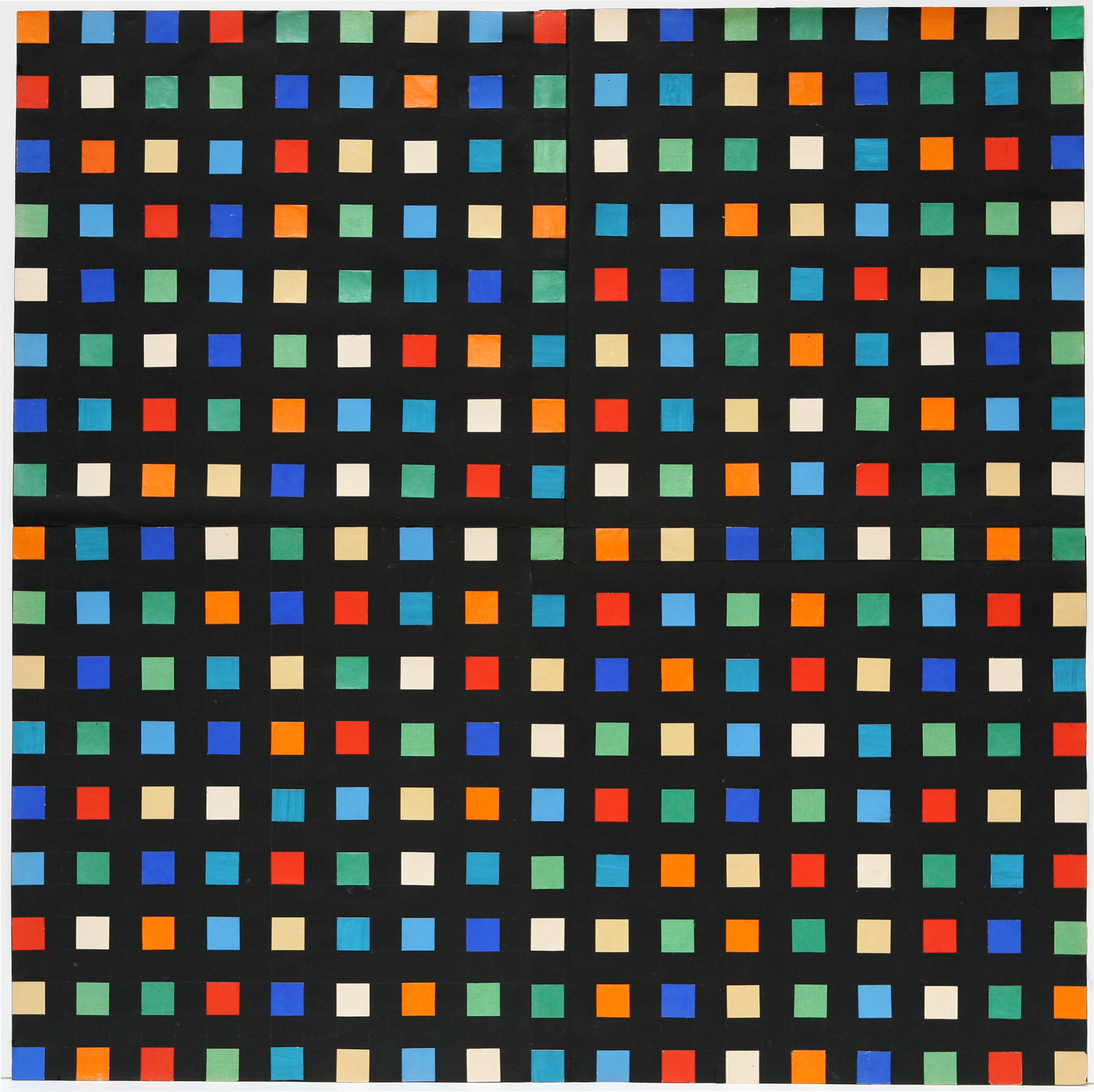 """Image of """"Spectrum Colors Arranged by Chance IX"""" by Ellsworth Kelly, a paper collage with a repeating pattern of bright colored small squares arranged in straight lines that run both vertically and horizontally over a dark background."""