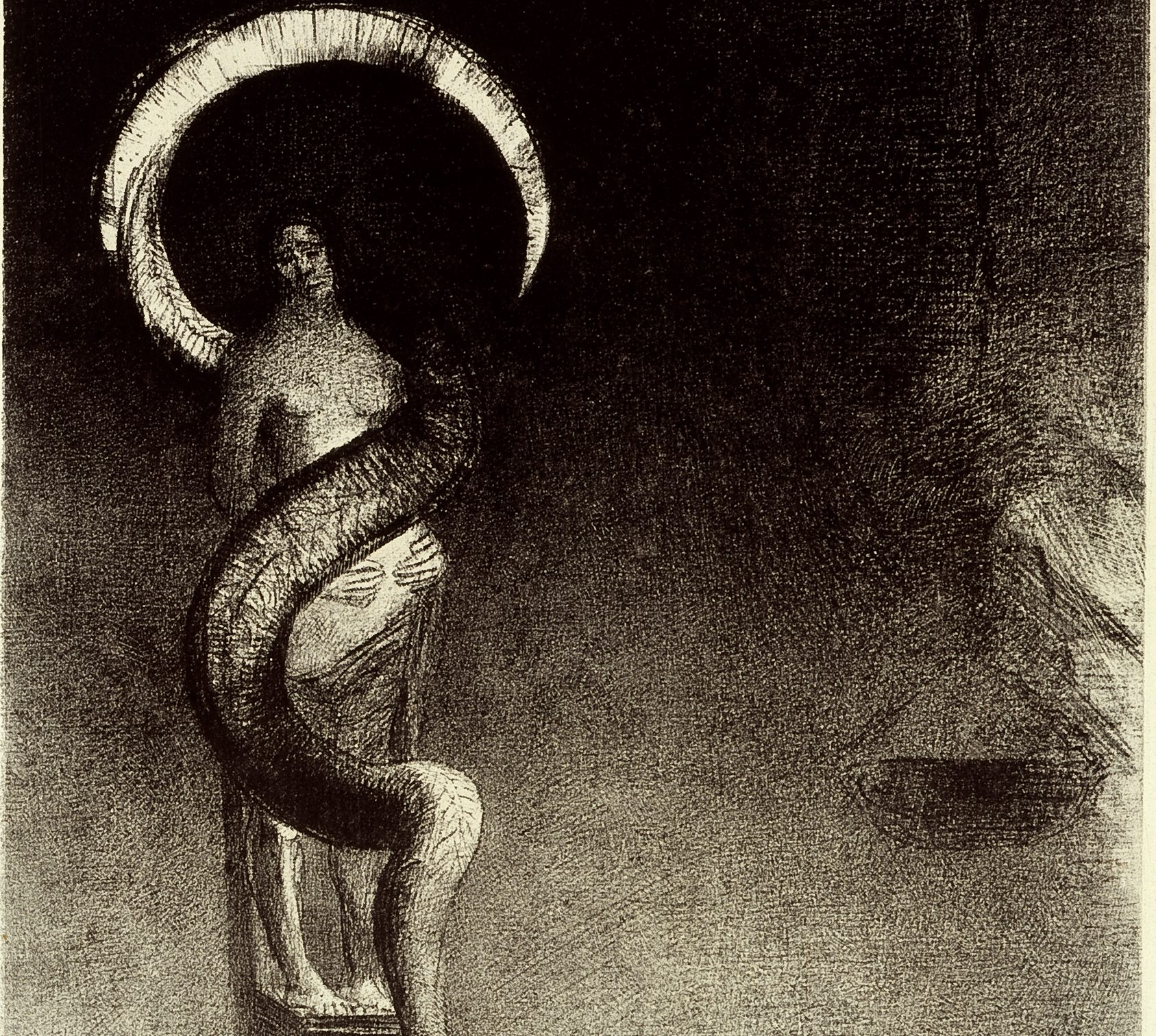 """Image of """"Serpent-Auréole (Serpent-Halo)"""" by Odilon Redon a lithograph print featuring a female figure with hands on her stomach being entwined by a serpent that forms a halo above her head"""