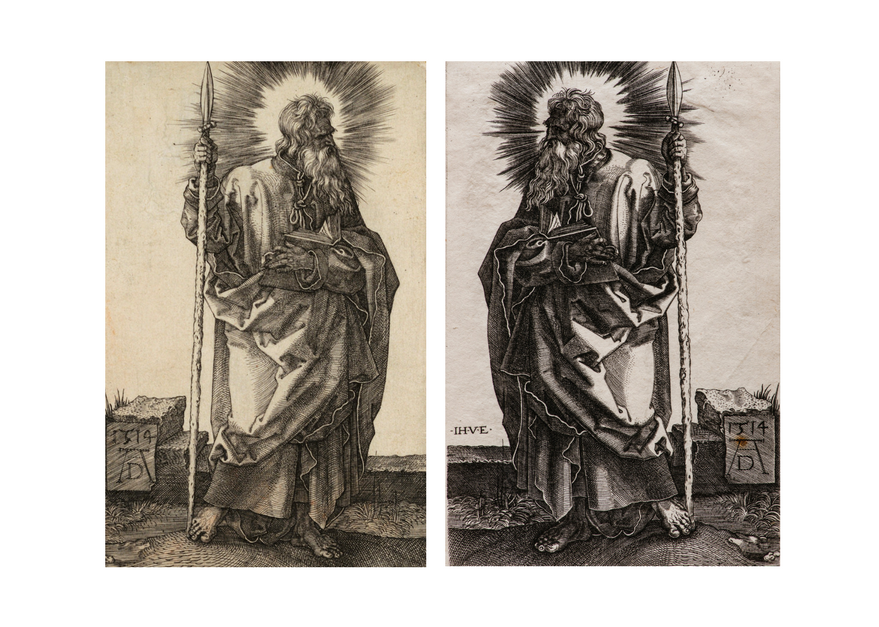 mirror image black and white etchings of st. thomas the apostle holding a staff with light emminating from his head. one is by durer and the other is a copy