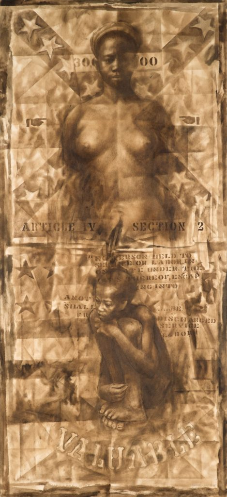 The top half depicts a woman who is naked we can see her from the waist up her arms are at her side. She is looking directly at the Viewer. Behind her is a confederate flag. The bottom half of the image is of a little boy curled up holding his knees. Behind him is a depiction of the American flag. Underneath him the word valuable is stenciled .
