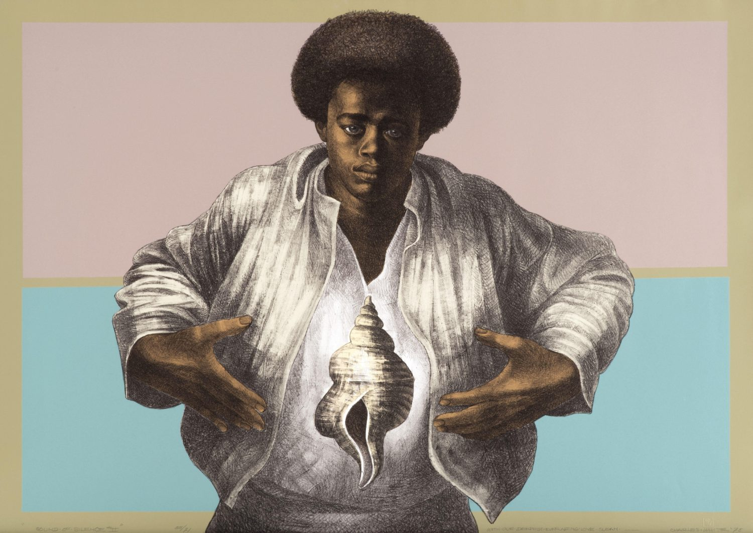 "Image of a color painting, titled ""Sound of Silence"" by Charles White, featuring a man in a white shirt and a conch shell"