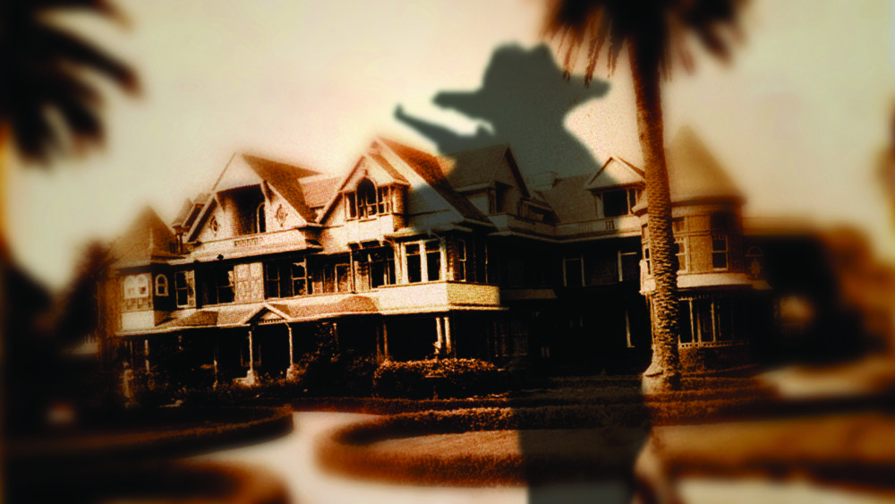 """Jeremy Blake, """"Winchester (still),"""" from the series """"Winchester,"""" 2002. The world famous """"Winchester House"""" is shown in sepia. A black silhouette of a figure holding the Winchester Rifle covers half of the house like a shadow."""