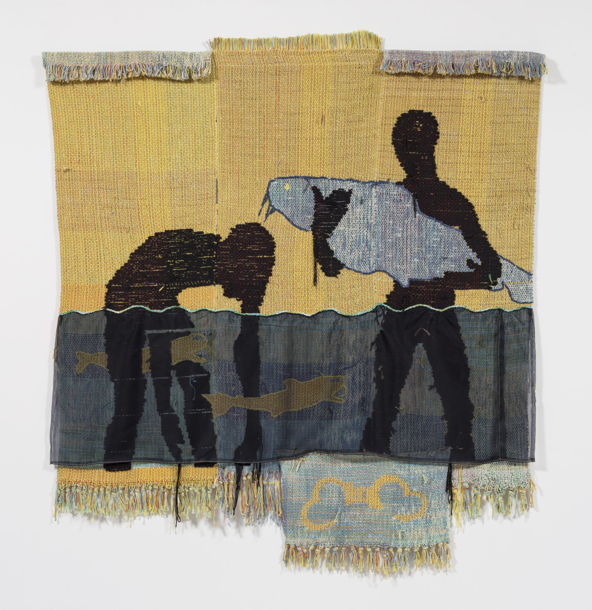 """woven cotton and acrylic yarn and silk organza by Diedrick Brackens titled """"bitter attendance, drown jubilee"""""""
