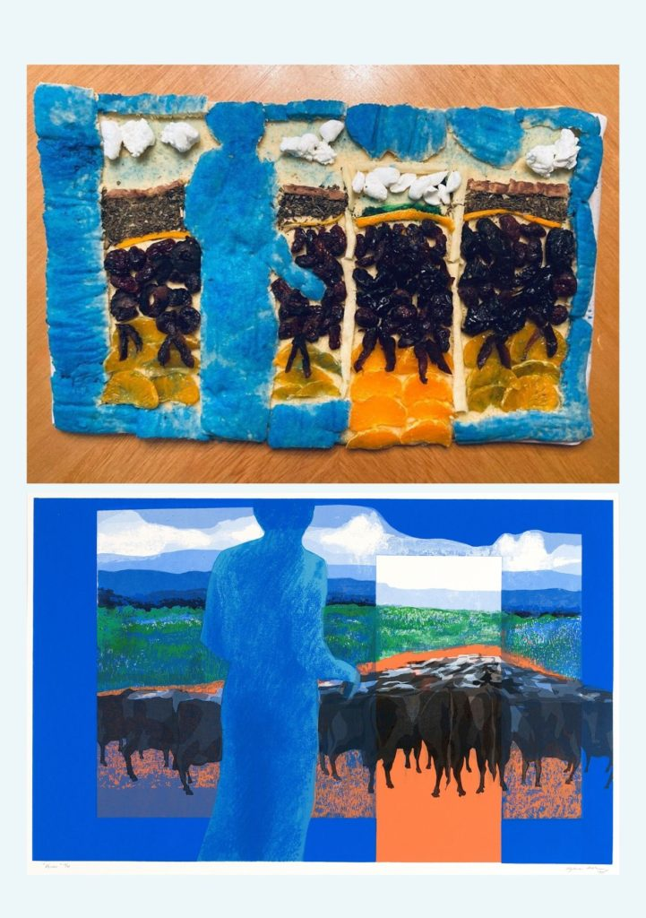 "The top image shows a rectangular cake decorated to look like the bottom image which is of Myrna Báez' ""Vacas"" a painting depicting a herd of cattle walking away from the viewer toward the horizon, being looked over by a blue figure in the foreground"
