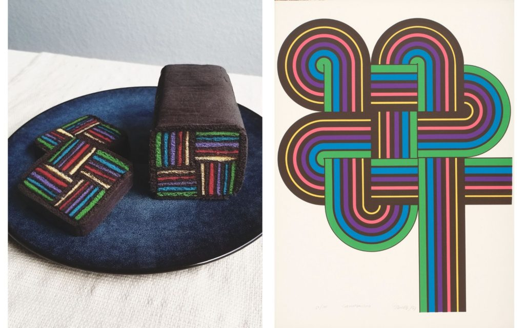 "An image showing a cake and a piece of art. The cake is is made to resemble ""Surmandalismo"" by Rogelio Polesello. The cake is displayed on the left with the art piece on the right. The cake  is brown on the exterior with a rainbow lined pattern interior very similar to the rainbow lines of the art piece."
